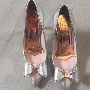 Ted Baker elegant silver stilettos.